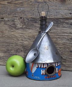 Whimsical Birdhouse, Vintage Coffee Can Birdhouse, Funnel Roof, Recycled Spoon