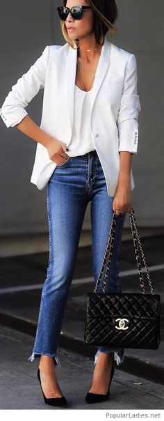 White top, blazer, jeans and more