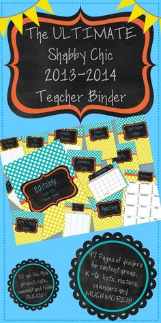 This is THE ULTIMATE Teacher Binder to get you started off on the right foot for the 2013-2014 school year! Not only is this binder customizable for your classroom and your needs, but it includes just some of the following...  *Cover Sheet   *Reading  *Lesson Plans  *Staff Meeting Notes  *Scope and Sequence  *Unit Plans  *Behavior  *Common Core  *IEPs  *Monthly Calendar complete with Monthly To Do LIst (August-July)   *3 template pages to insert your own text boxes on and customize