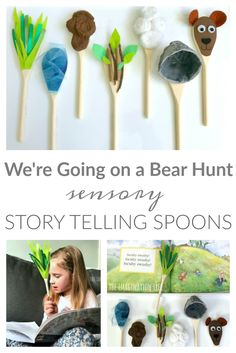 Visual representation for pre-k. Sensory Storytelling Spoons for We're Going on a Bear Hunt - The Imagination Tree Nursery Activities, Sensory Activities, Learning Activities, Preschool Activities, College Activities, Drama Activities, Drama Games, Sensory Play, Educational Activities