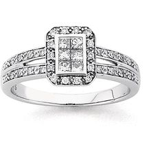 9ct White Gold Diamond Invisible Set Engagement Ring | Prouds The Jewellers