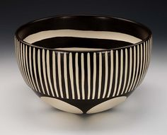 Ceramic Bowl, 1999, Kathy Erteman, slipcast whiteware clay with black engobe, hand carving and wax resist dye, 6 1/2 x 10 7/8 in. (16.6 x 27.5 cm), Smithsonian American Art Museum, Gift of the artist in memory of Marguerite Dexter, 1999.69