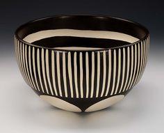 Kathy Erteman – Ceramic Bowl slipcast whiteware clay with black engobe, hand carving and wax resist dye, Smithsonian American Art Museum Ceramic Mugs, Ceramic Bowls, Ceramic Pottery, Pottery Art, Ceramic Art, Slab Ceramics, Modern Ceramics, Porcelain Ceramics, Porcelain Tiles