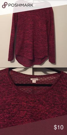 Xhilaration woman's sweater, size Medium Nice, lightweight red/black sweater that is a bit see thru so I wore a black cami under it Xhilaration Sweaters Crew & Scoop Necks