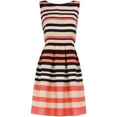 Pink stripe prom dress ($24) ❤ liked on Polyvore featuring dresses, vestidos, stripes, robes, short dresses, mini prom dresses, sleeveless cotton dress, short pink dress, zipper dress and cotton dress
