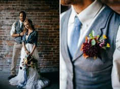 Industrial Chambray Wedding Inspiration! So many creative ways to incorporate moody blue hues + textural denim details into your wedding day design | Green Wedding Shoes