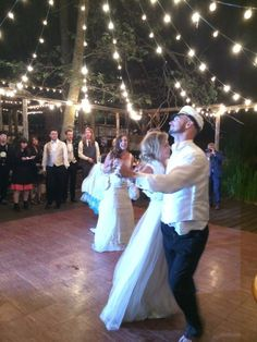Twirlin and swirlin on the Hidden Creek dance floor!  I Lake Arrowhead outdoor wedding venue  I Pine Rose Cabins