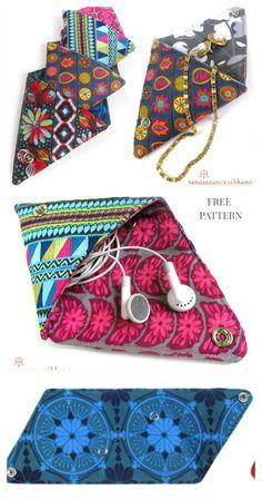 Diy Coin Purse Pattern, Purse Patterns Free, Pouch Pattern, Pattern Fabric, Diy Small Coin Purse, Diy Purse, Fabric Origami, Diy Origami, Fabric Bags