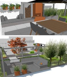 Garden Design SketchUp Modern oceanfront garden with Cor ten Steel outdoor fireplace Whilst historic around
