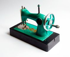 adorable soviet union small children sewing machine soviet era toy green sewing machine on Etsy, $58.00