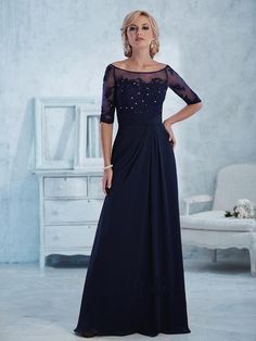 Long Navy Half Sleeves Lace and Chiffon Mother of The Bride Dresses 5701016