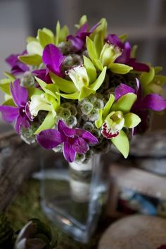 lovely #purple #green #orchid #bouquet