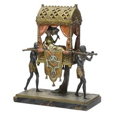 """Cold Painted Bronze Group Enitled """"Carrying the Princess"""" by Franz Bergman   From a unique collection of antique and modern sculptures at https://www.1stdibs.com/furniture/decorative-objects/sculptures/"""