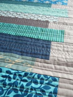 Patchworked aqua stripes ... beautiful.