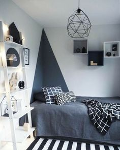 Trendy Bedroom, Modern Bedroom, Bedroom Boys, Girl Bedrooms, Boys Bedroom Ideas 8 Year Old, Bedroom Black, Contemporary Bedroom, Grey Boys Bedrooms, Modern Contemporary
