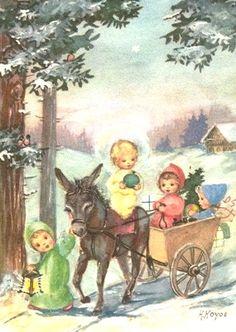 Hoyos Vintage Greeting Cards, Vintage Christmas Cards, Christmas Greeting Cards, Christmas Greetings, Vintage Postcards, Illustrations Vintage, Retro Illustration, Christmas Illustration, Vintage Artwork
