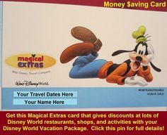 New for 2015!  The Magical Extras card comes with every Walt Disney World Resort vacation package and provides discounts at select shops, restaurants, and activities.  For full details, see: http://www.buildabettermousetrip.com/magical-extras-card  #DisneyWorld