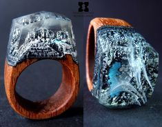 """68 """"Μου αρέσει!"""", 1 σχόλια - @sxwoodencreations στο Instagram: """"Dragon Lake... New secret miniature world's Rings Only @sxwoodencreations wood and resin rings,…"""""""