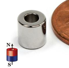 """CMS Magnetics PRODUCT DESCRIPTION This product measures 1/4"""" in diameter and 1/4"""" in thickness and features a 1/8"""" hole through the thickness of the magnet.  Material: Sintered NdFeB. Grade N45 Gauss Rating: 13,500 Gauss Pulling Force: 5.3 lbs. Pole Orientation: Axially Magnetized, the poles are on the flat surfaces. Coating: Ni+Cu+Ni 3 layer coating, the best available. Tolerance: The tolerances of all the dimensions are +/-0.002in with coating."""