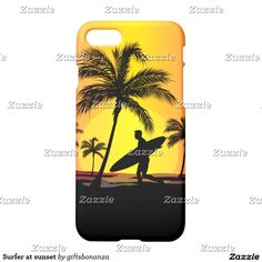 Surfer at sunset iPhone 7 case. Cool iphone case for the surfer