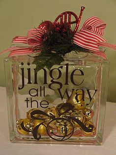 Jingle All the Way Lighted Glass Block