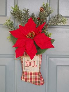Christmas Stocking Decoration,Christmas Door Hanger, Holiday Decoration,Holiday Door Hanger,Stocking Door Hanger,Holiday Gifts,Gifts for Her by WallflowersbyKerri on Etsy