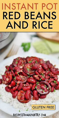 Easy Instant Pot Red Beans and Rice with Andouille sausage is full of comfort food flavor! This classic Southern Dish Recipe is quick, easy and affordable. Best Instant Pot Recipe, Instant Pot Dinner Recipes, Supper Recipes, Lunch Recipes, Appetizer Recipes, Soup Recipes, Crockpot Recipes, Andouille Sausage Recipes, Red Beans