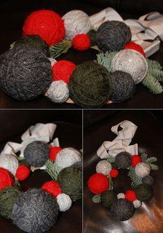 TallerdeLuna: Corona de Navidad el lana::rojo, verde y gris