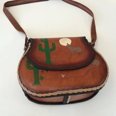Tooled leather messenger bag tote 1970's new stock by mightyMODERN
