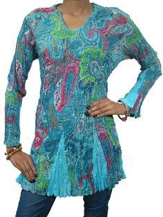 Mogul Boho Cotton Top Long Sleeve Tunic Blouse Women Kurta Sz Small at Amazon Women's Clothing store: