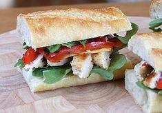 Chicken and Arugula Sandwiches | Great sandwich for a weekday meal. Terrific one for entertaining too. Easy fresh flavors. Make extra spread for more flavor. #Homemaderecipes