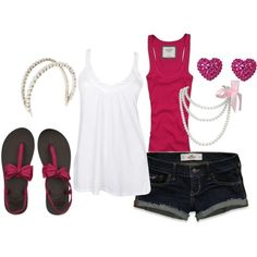 A fashion look from February 2012 featuring white shirt, pink tank top and embroidered shorts. Browse and shop related looks. Cute Summer Outfits, Short Outfits, Cute Outfits, Fall Outfits, Cute Fashion, Fashion Outfits, Womens Fashion, Oufits Casual, Spring Summer Fashion