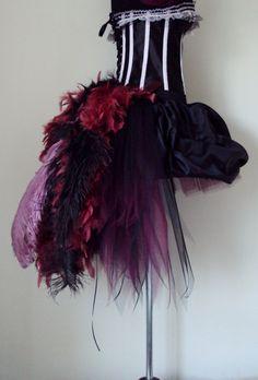 Red Wine Black PEACOCK Burlesque Satin Tutu by thetutustoreuk, $95.00
