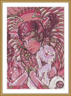 Angel and cat cross stitch pattern - modern counted cross stitch - Valentines Day Praying Angel Cat  - Licensed Natalie Ewert by UnconventionalX on Etsy