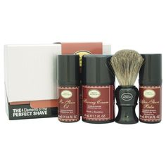 The Art of Shaving incorporates essential oils and enticing sandalwood in a practical men's shaving kit. The four-piece set fulfills your grooming needs by including a genuine badger hair brush, shaving cream and products for pre- and post-shave.