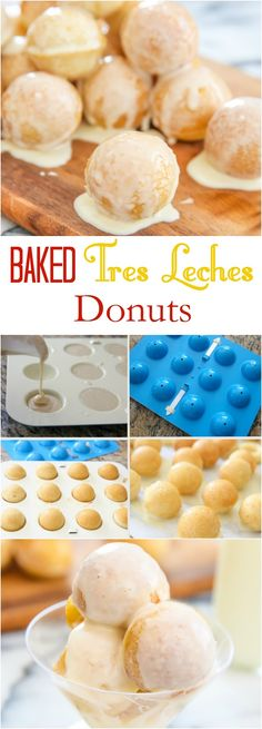 Today I'm sharing not just one, but two tres leches donut recipes. The first one is my Baked Tres Leches Donut Holes. Tres Leches Cupcakes, Chocolate Tres Leches Cake, Donut Recipes, Dessert Recipes, Cooking Recipes, Desserts, Flan, Baking Power, Homemade Donuts