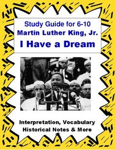 MLK I Have a Dream Speech Close Reading & Vocabulary for Easy Analysis Middle School Writing, Middle School English, Middle School Teachers, Secondary Resources, Teacher Resources, Martin Luther King Speech, Literary Elements, English Language Arts, I Have A Dream