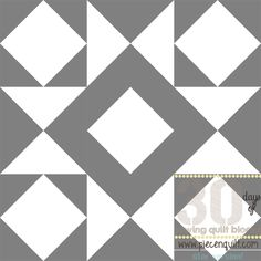 This fun Combination Star Quilt Block Pattern is made from nothing but hour glass blocks and square-in-a-square blocks. The simple gray and white color scheme in this quilt design makes sure the star block pattern really shines. When you sew these quilt blocks together to form an entire quilt, the star pattern fades and becomes part of a chunky, grid-like pattern.