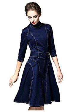 Tuliplaza Women's High Neck Denim Tunic Career Wear To Work A Line Short Dress * Click image for more details. Denim Tunic, Jeans Denim, Fashion Sewing, Denim Fashion, Pretty Dresses, Beautiful Dresses, Mode Jeans, Denim Ideas, Career Wear