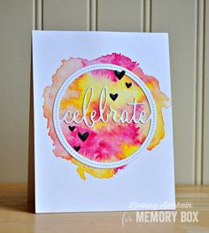 Hello! I have a couple of cards to share with you today, that uses the fun Stitched Celebrate Circle Frame. I chose to use the die in a clean and simple way for both a masculine, and feminine card. I started by thoroughly wetting my watercolor panel with clean water, and dropped in my colors. I allowed them to pool, and meld, before leaving it to air dry. Once it was dry, I adhered the panel to a white card base, and die cut the Stitched Celebrate Circle frame with white card stock. I…