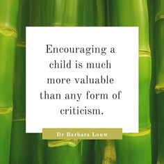 Encouraging a child is much more valuable than any form of critism. #DrBarbaraLouw #Wellness4 Wholeness