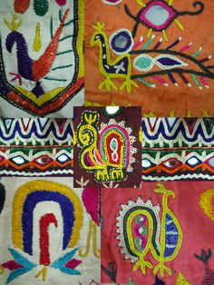 A montage of traditional Gujarati embroidery by Graham Hollick of Stitch by… Hand Work Embroidery, Indian Embroidery, Hand Embroidery Designs, Folk Embroidery, Embroidery Stitches, Textile Fiber Art, Textile Prints, Textile Patterns, Indian Prints