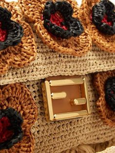 It's Not A Bag It Is Fendi Baguette! Crotchet Bags, Knitted Bags, Crochet Handbags, Crochet Purses, Handmade Handbags, Handmade Bags, Fendi, Black Flowers, Beautiful Handbags