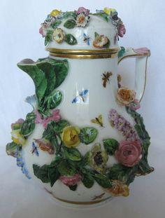 Meissen 19th Century Raised Floral Porcelain Coffee Pot Teapot   eBay