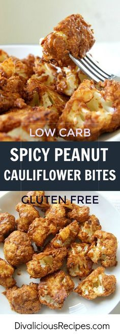 Spicy peanut cauliflower bites make a delicious low carb and gluten free appetiser or snack. Easy to make and easier to eat too!