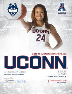 The collectible 2015-16 UConn Huskies Women's Basketball Roster Card vs. SMU on February 24, 2016, features freshman guard/forward Napheesa Collier on its cover. @uconnhuskies