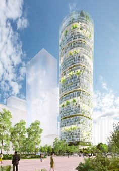 Carlo Ratti Associati has unveiled plans to build a 218-metre-tall skyscraper in China that would grow crops using hydroponics, as well as contain spaces for selling and consuming the produce. The Jian Mu Tower would occupy the last available plot in Shenzhen's business district, completing the city's central skyline. Urban Agriculture, Urban Farming, Hydroponic Farming, Hydroponics, Shenzhen, China Architecture, Sustainable Architecture, High Building, Vertical Farming