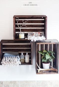 Of all the DIY projects you can do for your home, shelves are among the simplest of all.     Turning a bunch of wood crates into wall shelves is really easy. There's no need to cut anything. All you have to do is mount the crates on the wall and for that you'll need screws and anchors. The first step, however, will be to stain the crates in order to give them the look you want. This part is pretty easy and all you need is some sandpaper, woo