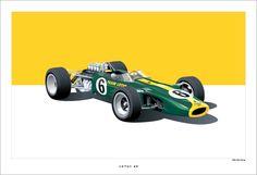 Superbe et mythique Formule 1 #Lotus, la 49, création graphique de Arthur Schening. Plus d'infos sur l'article de News d'Anciennes : http://newsdanciennes.com/2015/01/24/morceaux-darts-du-samedi-arthur-schening/