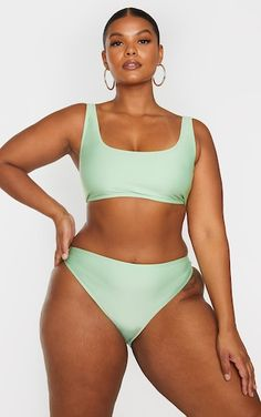 Plus Sage Green Basic Scoop Neck Bikini Top | PrettyLittleThing Plus Size Bikini, Plus Size Swimsuits, Curvy Bikini, High Waisted Bikini Bottoms, Bikini Tops, Curvy Girl Lingerie, Real Bodies, Modelos Plus Size, Poses References